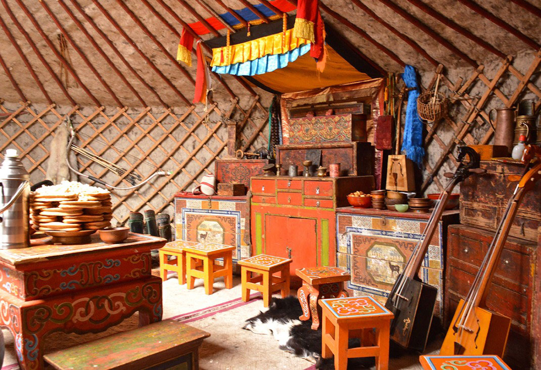 Traditional Mongolia ger Yurt, inside view